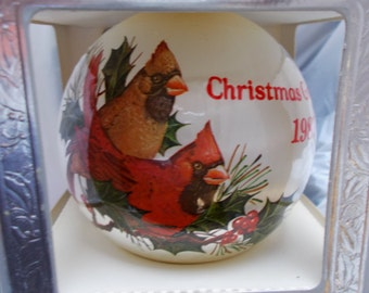 Vintage Christmas Satin Ball Ornament Cardinals 1987 General Foam