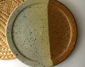 Vintage Stoneware Clay Plate / Wheel-thrown Pottery Plate / Plant Base