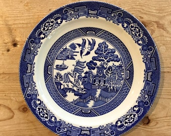 Blue Willow Dinner Plate, Wood and Sons, Woods Ware Willow, 10 Inch Blue Willow Dinner Plate, Asiatic Chinoiserie Style, Cottage Farmhouse