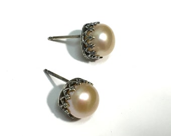 Sterling Silver Pearl Post Stud Earrings - 8mm Button Pearl - Filigree Bezel set - bright silver or oxidized finish