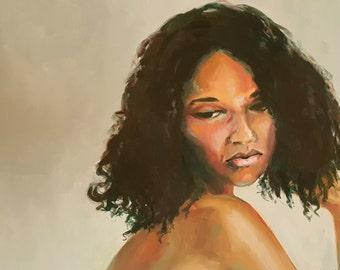 The Thoughtful Young Woman- Original Feminine Portrait Oil Painting- Beautiful African American Woman- Natural Dark Hair