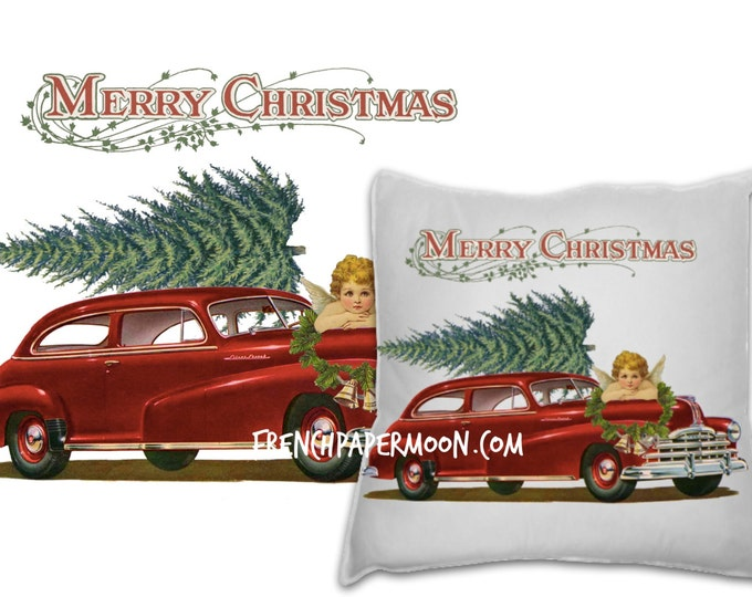 Retro Digital Christmas Car Oldsmobile with Tree, Instant Download Christmas Pillow Image, Xmas Fabric Transfer Digital