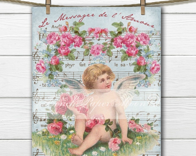 Shabby Chic Valentine Cherub, Angel, Vintage Roses, French Graphics, Instant Download French Pillow Transfer Graphic