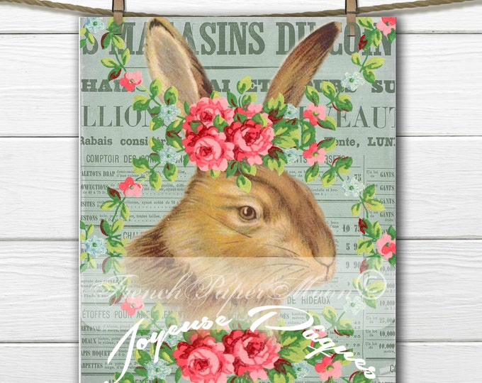Shabby Vintage Easter Bunny, French Bunny, Flowers, French Easter Pillow Transfer Graphic, Instant Download