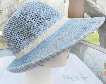 Pastel Blue Hippie Style Hat , Mod Fashion 60's Garden Party Sun Hat