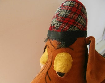Vintage, 1960's, R. Dakin, Dream Pets, Hound Dog, Plaid Hat, Stuffed Dog Toy, FREE SHIPPING