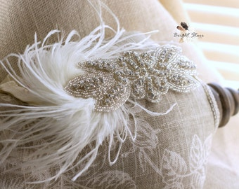 Ivory wedding headband - rhinestone bridal headband - feather headband - Cream headband - ivory headband - Cream fascinator - vintage style