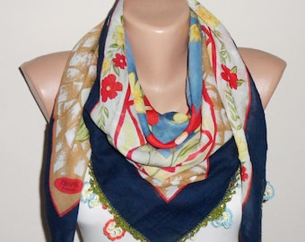 blue scarf red  flower green yellow white cotton scarf turkish scarf eemeni scarf oya scarf woman accesories gift for her