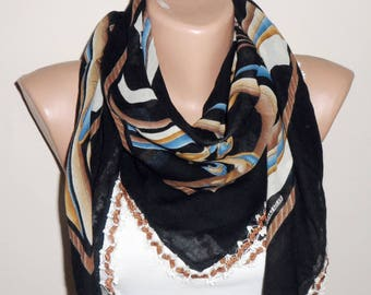 black scarf brown  flower blue white  cotton scarf turkish scarf yemeni scarf oya scarf woman scarf fashion accessories gif for her