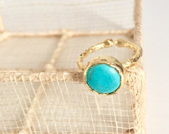 Hammered 22K Gold Plated Turquoise Ring