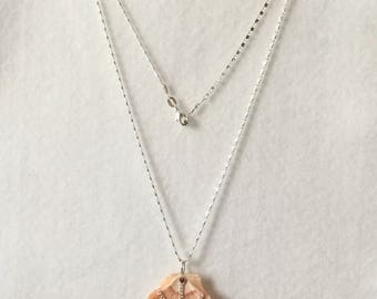 """Florida Seashell with Red Garnet and Sterling Silver Chain Design on a 20"""" Sterling Silver Chain"""