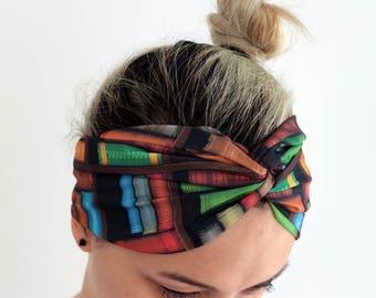 Colorful Bookshelf Yoga Headband - Workout Fitness Running Boho Double layer Turban Headband