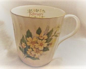 FEBRUARY BIRTHDAY,February Mug,Yellow Flower Mug,Birthday Mug,Yellow Violets,Elite China,English China,Birthday Gift Idea,Tea Coffee Mug,