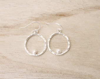 Sterling silver pearl earrings, hoop dangle earrings, sterling silver earrings hammered earrings