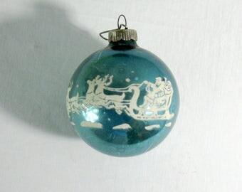 "Vintage Shiny Brite Glass Christmas Ball, Aqua Background with Santa, Sleigh, Reindeer Stencil, 3"" diameter"
