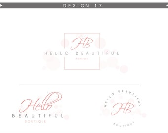 Watercolor Logo Design Branding Package Inc. Photography Logo Watermark - rose pink initials letters cute Watercolor Logo- Logo 17