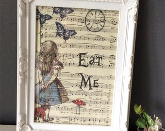 Alice in Wonderland wall art, Unframed, Printed vintage music sheet