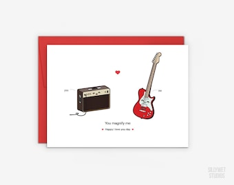 Cute Guitar and Amp Love Card, Valentine's Day Card, Anniversary Card, I Love You Day Card