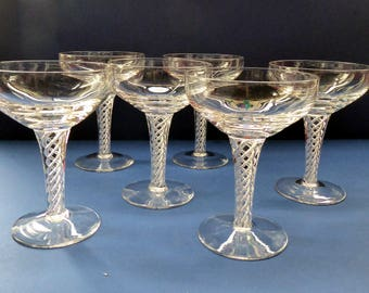 Fabulous SET OF SIX Vintage Crystal Champagne Glasses or Coupes. Stuart Crystal Ariel / Iona Cut with Air Twist Stem. 5 1/4 inches.