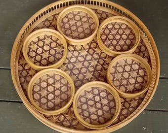 Tray and Coaster Set Vintage 1970's Bamboo Rattan Serving Tray with Set of Six Matching Glass Topped Coasters