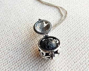 Silver Locket Lava Stone Diffuser Necklace - Aromatherapy Necklace, Essential Oil Diffuser Necklace, Gift for Friend, Girlfriend Gift
