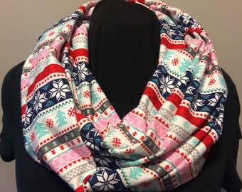Nordic Christmas Fair Isle Cotton Flannel Infinity Scarf
