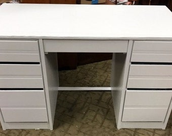 Vintage white desk with six drawers