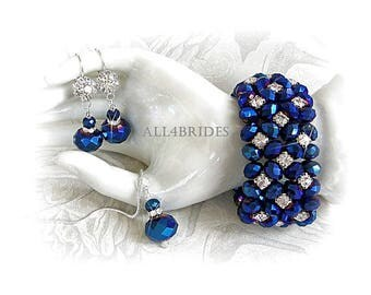 Peacock Blue Bracelet, Earrings and Necklace Set - Something Blue Wedding Bridal Jewelry
