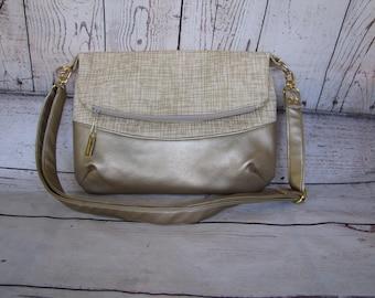 Gold Fressia Fold Over Bag