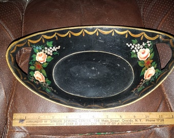 Hand Painted Toleware Metal Dish