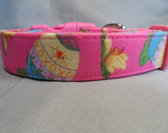 Easter Dog Collar Easter Eggs on Hot Pink