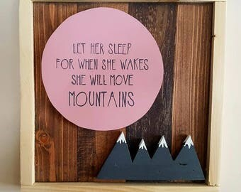 Let her sleep Pink moon and Mountains art piece
