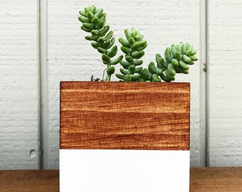 Hand Painted wooden square planters