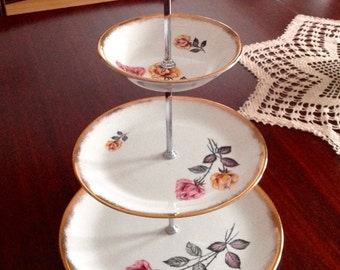 Beautiful 3-tiered cake stand vintage Staffordshire H. Anynsley & Co. England