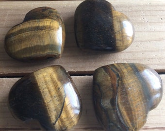 Tiger's Eye Gemstone Puffy Heart, Healing Stone, Healing Crystals,Chakra Stone, Spiritual Stone