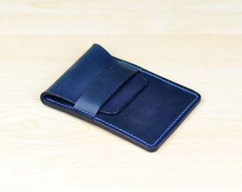 Leather Business Card Holder, Personalized Leather Business Card Case,  Leather Card Case, Leather Card Wallet - Horween Navy Chromexcel