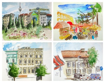 Lot Berlin original glicée prints painting print cityscape Berlin wall decor print watercolor ink print german art german architecture