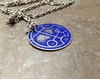 Custom Gallifreyan Tardis Blue Necklace, Doctor Who