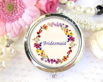 Silver Compact Mirror, cosmetic, handbag or purse mirror, Bridesmaid's Mirror, Wedding Favors, Gift for Bridesmaid, Floral Mirror.