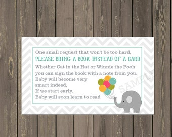 Elephant Book Request Insert, Elephant Baby Shower Book Card, Books for Baby Insert, Book instead of Card, Instant Download