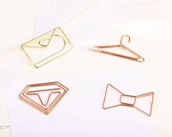 Rose Gold/Gold Paper Clips Ribbon/Clothes Hanger/Diamond/Envelope Copper