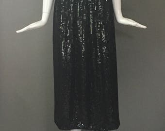 Gorg Vtg 80s Black Sequin Party Skirt Elasticized Waist Excellent Ready To Wear Condition Virtually Every Sequin In Place L Trophy Silk