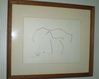 Early Raymond Moretti line drawing- hand signed print- Mare and Foal picture- Horses #59/99 Moretti minimalist signed print