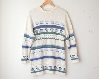 knit structured slouchy floral striped oversized long sweater 70s // M-L