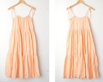 peach button down boho summer midi dress 70s // M-L
