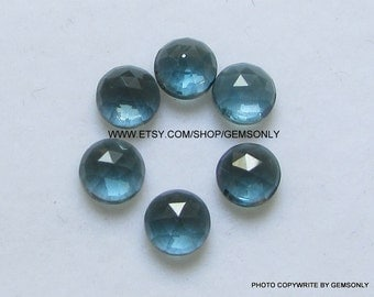 6MM Natural London Blue Topaz round rosecut 6x6mm london topaz rose cut round shade better color of topaz london dark blue topaz 6mm rosecut