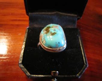 Navajo Smokey Mountain Turquoise Set in Sterling Ring