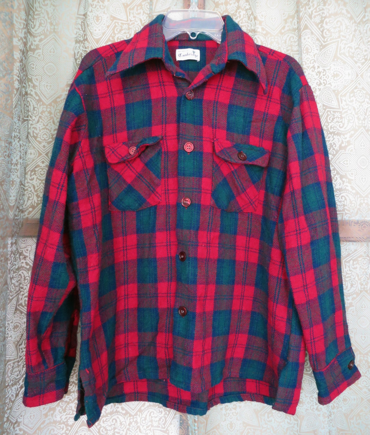 1960s Red Blue Green Plaid Wool Flannel Shirt Vintage