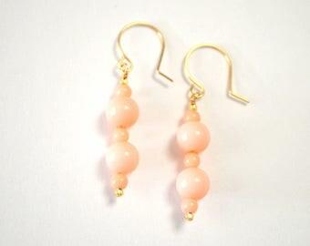 Pale Pink Vintage Bead Gold Filled Drop Earrings