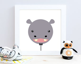 Hippo Balloon Nursery Art, Nursery Decor